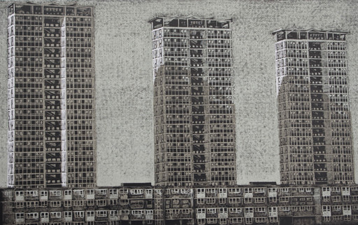 Point Blocks, Low Rises  高层与低层  240 x 385mm  £170 Edition size: 30     Buildings on the Avondale Estate  阿文代尔住宅区的建筑物