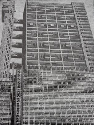 Scaffolding on Trellick Tower  揣猎克塔上的脚手架  350 x 265mm  £190 Edition size: 30     High-rise housing designed by Erno Goldfinger  由埃尔诺·高芬格设计的高层住宅楼