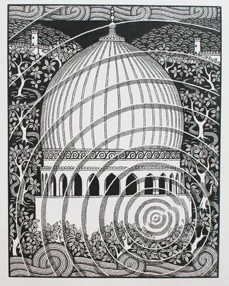 In Xanadu  在行宫  187 x 145mm  £150 Edition size: 50  An illustration for 'Kubla Khan' by Samuel Taylor Coleridge  为柯勒律治的诗歌《忽必烈汗》所作的插图