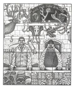 The Butchers  肉铺  140 x 115mm   £90 Edition size: 50  The Butcher's shop at Tissington in the Peak District  英国峰区蒂辛顿的肉铺