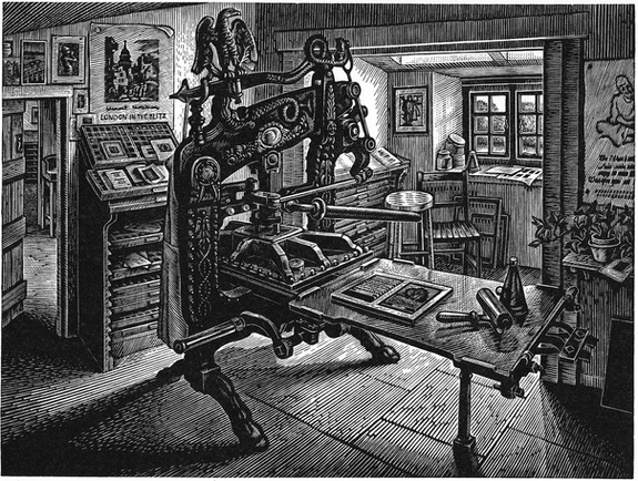 The Whittington Press  惠廷顿书坊  150 x 200 mm   £250 Edition size: 150  Columbian hand Press at the publishers of fine Press Books  这家精美图书的出版社里的哥伦布手动印刷机