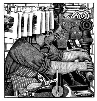 Printing 'Severn Bore'  印制 '塞文河涌潮'  164 x 156mm  £ 100 Edition size: 50  Self-portrait  自画像