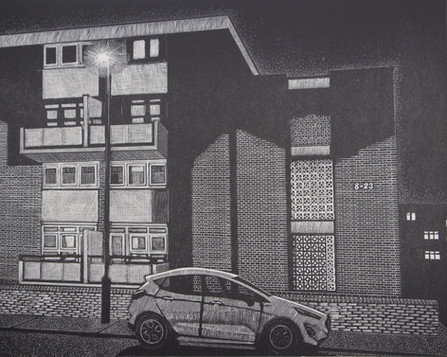 Mona Road, Evening  梦娜路, 夜晚  250 x 330mm  £160 Edition size: 30  A 1960s low-rise block of flats  一幢1960年代的低层住宅楼