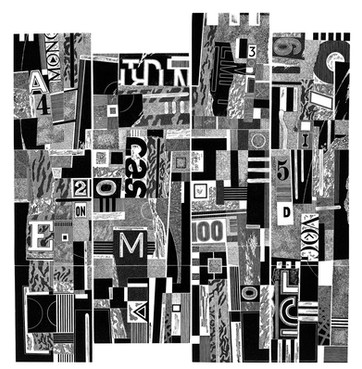 Four Towers  四座塔楼  458 x 435mm   £300 Edition size: 30  Spanish castles and urban streetscape combined with my interest in engravings based on collage  西班牙城堡和城市街景,加上我对拼贴版画的兴趣