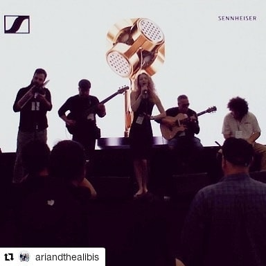 #krasterguitars live at the #Sennheiser NAMM booth with Ari and the Alibis
