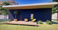 3-d rendering of a 2 bedroom 2 bath Modern house plan