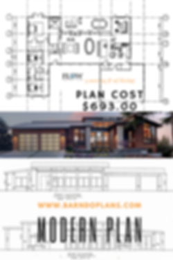 NEW 3 bedroom, study Modern Barndominium floor plan for $693.00