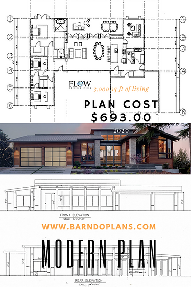 Modern home floor plan special for $693.00. Full set of plans scaled also can be structured a a modern farm Barndominium.