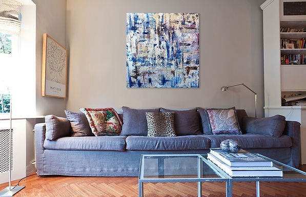 A commissioned painting By Jessamine Narita in living room interior
