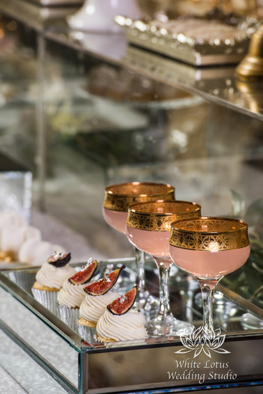 Elegant Wedding Magazine Feature Gardenia Style Shoot Wedding Cake & Sweet Table - Fig & 24K Gold Leaf Cupcakes