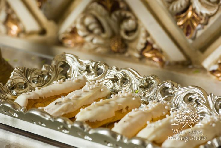 Elegant Wedding Magazine Feature Gardenia Style Shoot Wedding Cake & Sweet Table - Eclairs