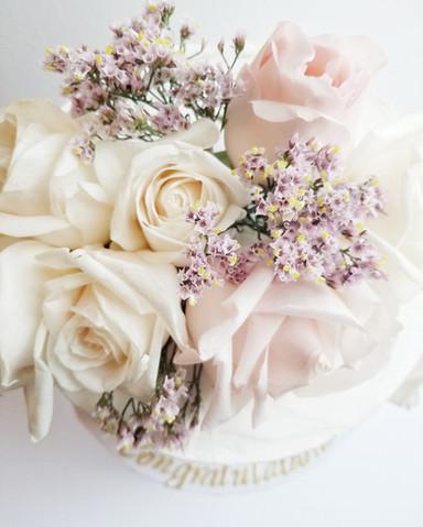 Bridal Shower Naked Cake & Fresh Flowers