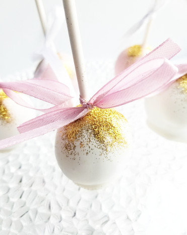 Couture Gold Cake Pops & Pink Bow