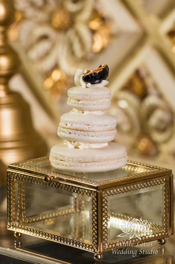Elegant Wedding Magazine Feature Gardenia Style Shoot Wedding Cake & Sweet Table - Mini Fig & 24K Gold Leaf Macaron Tower