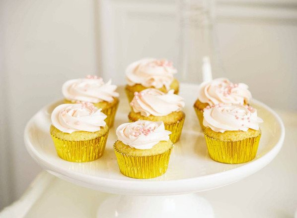 Indian Inspired Style Shoot Wedding Cake & Sweet Table - Pink Rosette Cupcakes