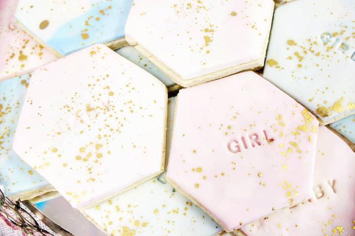 Veronica's Baby Shower Sweet Table - Embossed Sugars Cookies