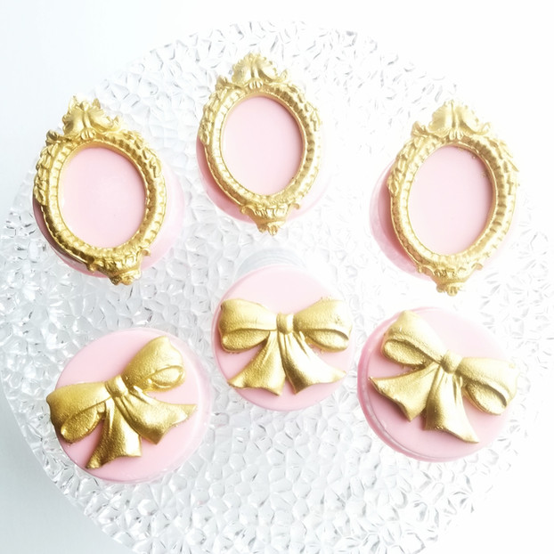 Couture Chocolate Covered Oreos with Gold Bows & Frames