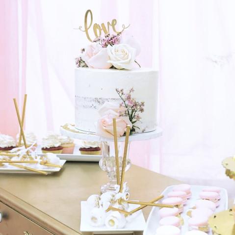 Bridal Shower Naked Cake & Fresh Flowers Sweet Table