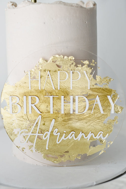 """5"""" Gold Leaf Round Acrylic Cake Topper"""