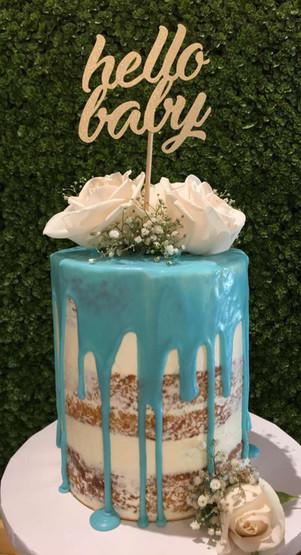 Baby Shower - Naked Chocolate Drip Cake & White Roses