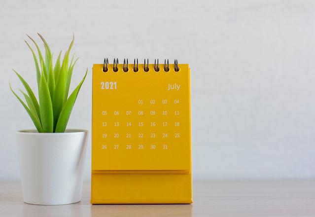 The rolling calendar for July 2021. Desktop calendar for planning, scheduling, assigning,