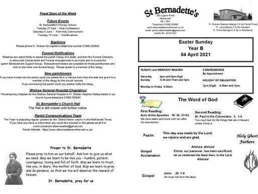 Easter Sunday - Bulletin