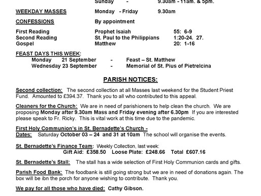 Bulletin - 25th Sunday of the Year