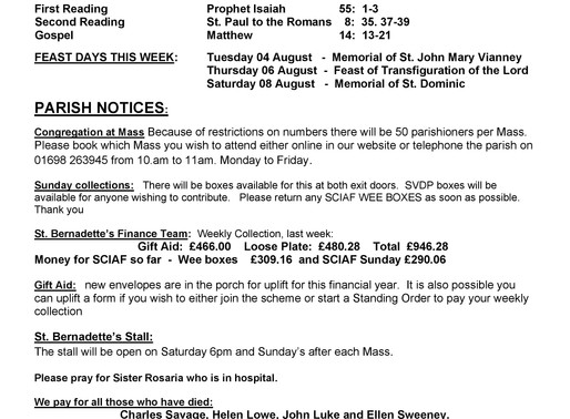 18th Sunday of the Year - Bulletin