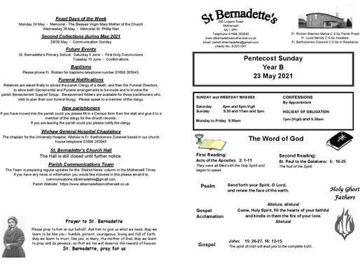 Pentecost Sunday - Bulletin