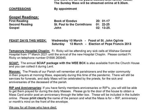 Third Sunday of Lent - Bulletin