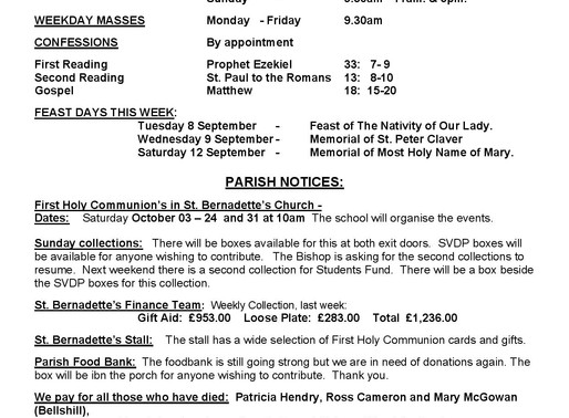 Bulletin - 23rd Sunday of the Year