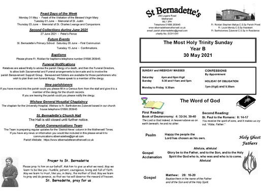 Trinity Sunday - Bulletin