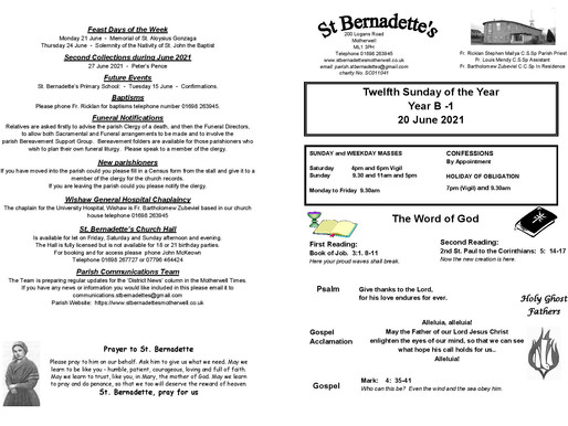 Twelfth Sunday of the Year - Bulletin
