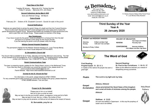 Third Sunday of the Year - Bulletin