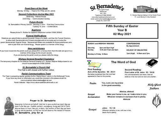 Fifth Sunday of Easter - Bulletin
