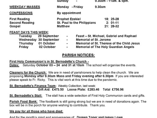 Bulletin - 26th Sunday of the Year