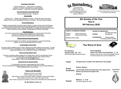 5th Sunday of the Year - Bulletin