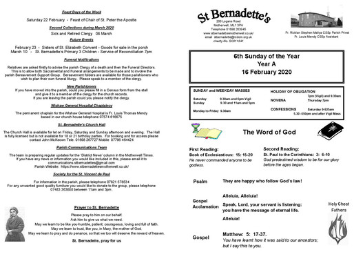 6th Sunday of the Year - Bulletin