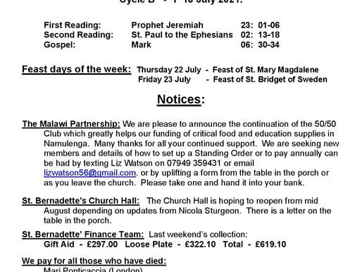 Sixteenth Sunday of the Year - Bulletin