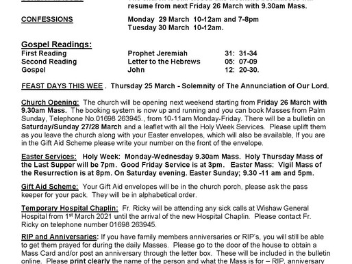 Fifth Sunday of Lent - Bulletin