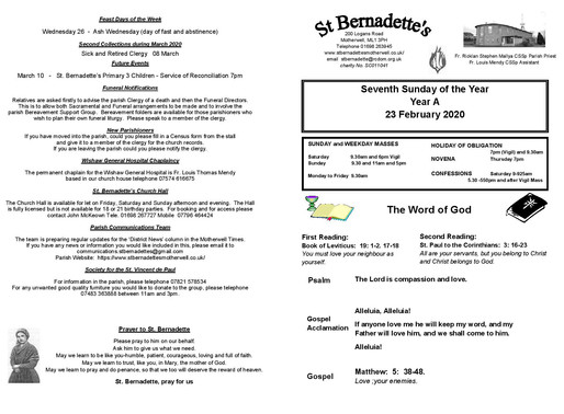 7th Sunday of the Year - Bulletin