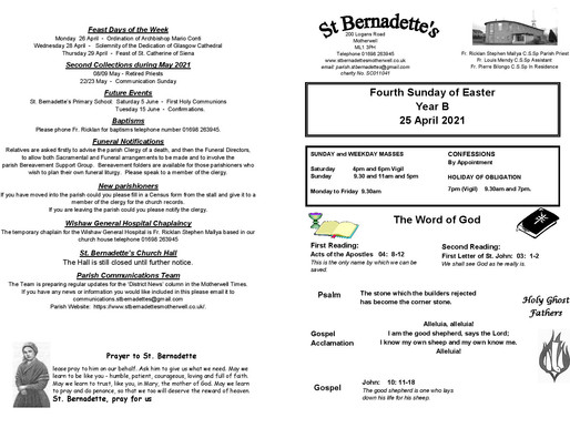 Fourth Sunday of Easter - Bulletin