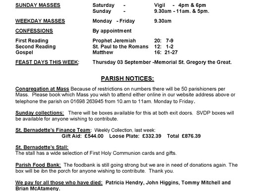 Bulletin - 22nd Sunday of the Year
