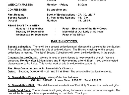 Bulletin - 24th Sunday of the Year
