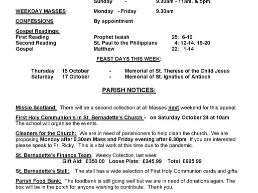 Bulletin - 28th Sunday of the Year