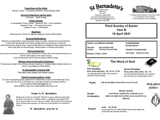 Third Sunday of Easter - Bulletin