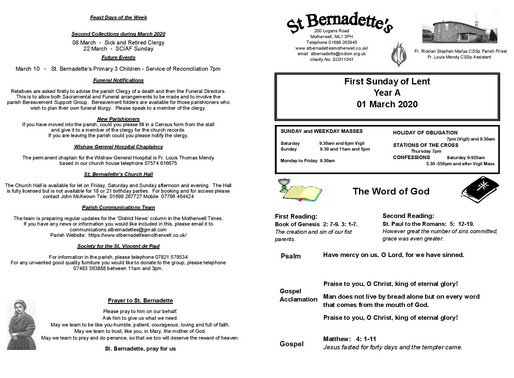 First Sunday of Lent - Bulletin