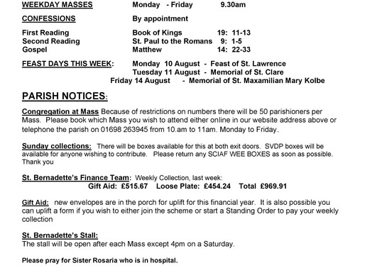 19th Sunday of the Year - Bulletin