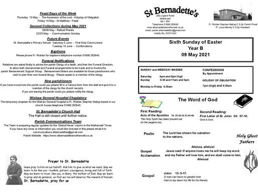 Sixth Sunday of Easter - Bulletin