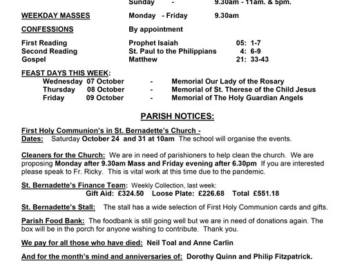 Bulletin - 27th Sunday of the Year